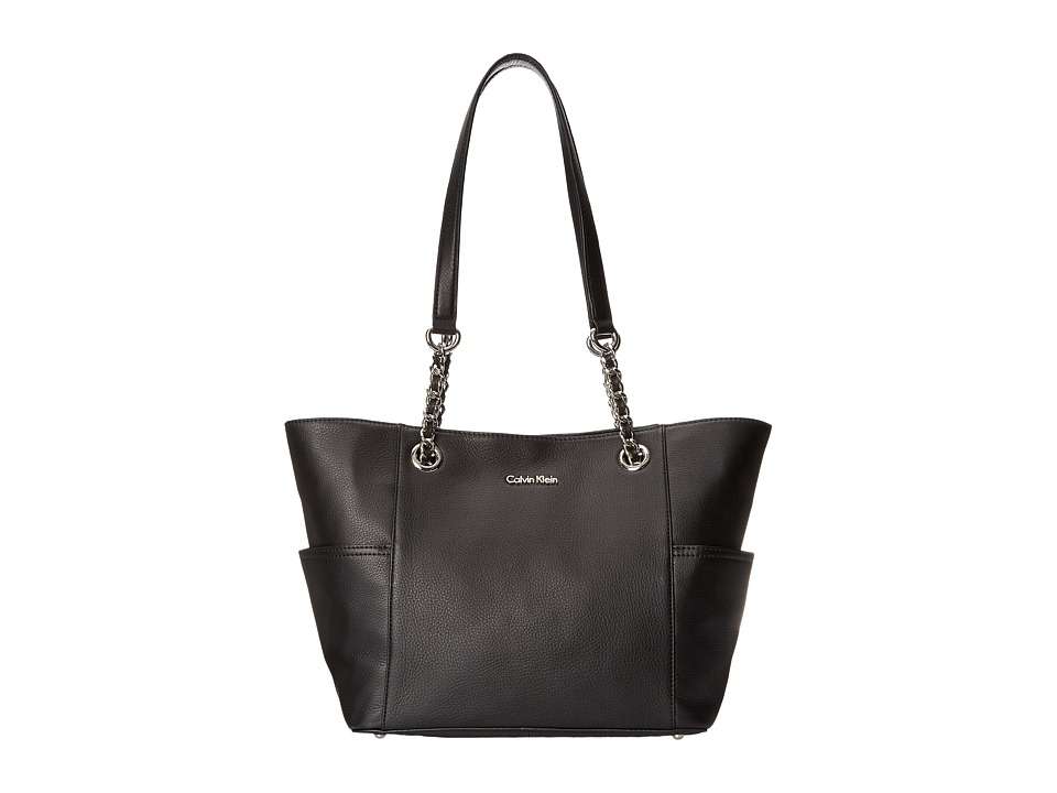 Calvin Klein - Key Item Leather Tote (Black) Tote Handbags