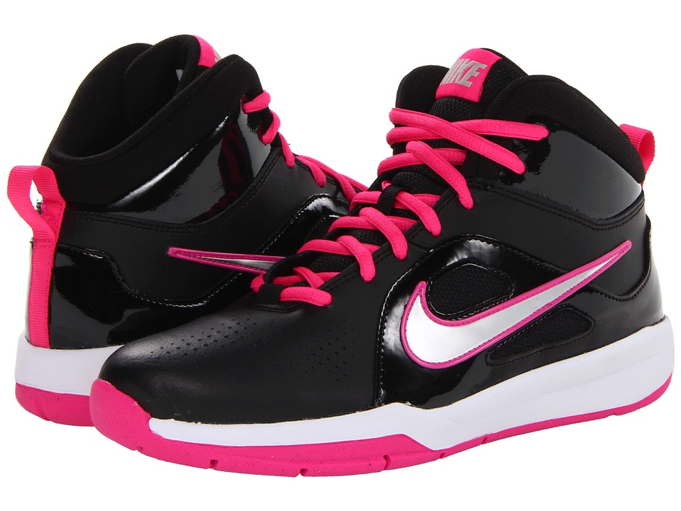 Nike Kids - Team Hustle D 6 (Big Kid) (Black/White/Pink Foil/Metallic Silver) Girls Shoes