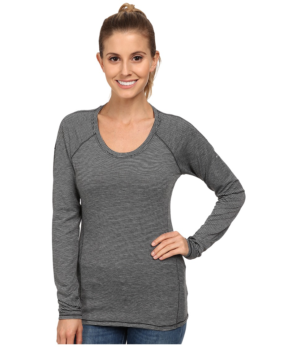 Columbia - Layer First Stripe Long Sleeve Top (Black Heather Stripe) Women's Long Sleeve Pullover