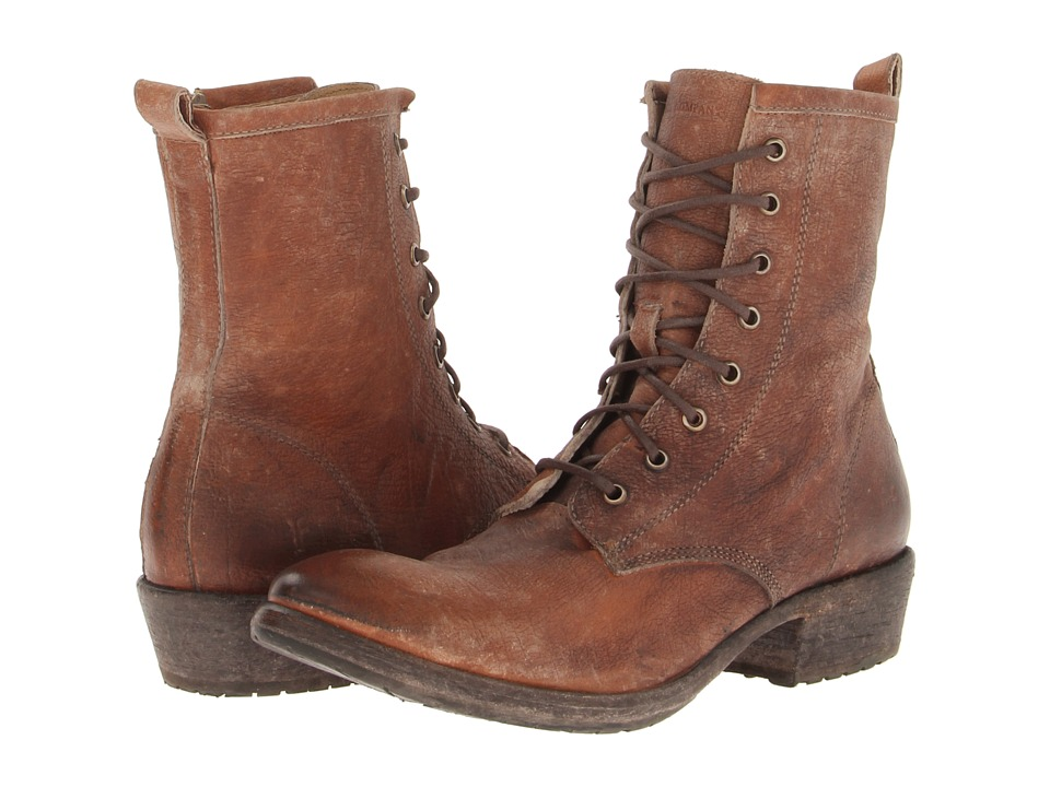 Frye Carson Lug Lace Up (Cognac Stone Antiqued) Women