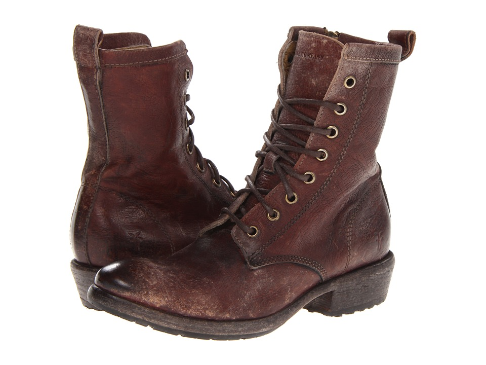 Frye Carson Lug Lace Up (Dark Brown Stone Antiqued) Women