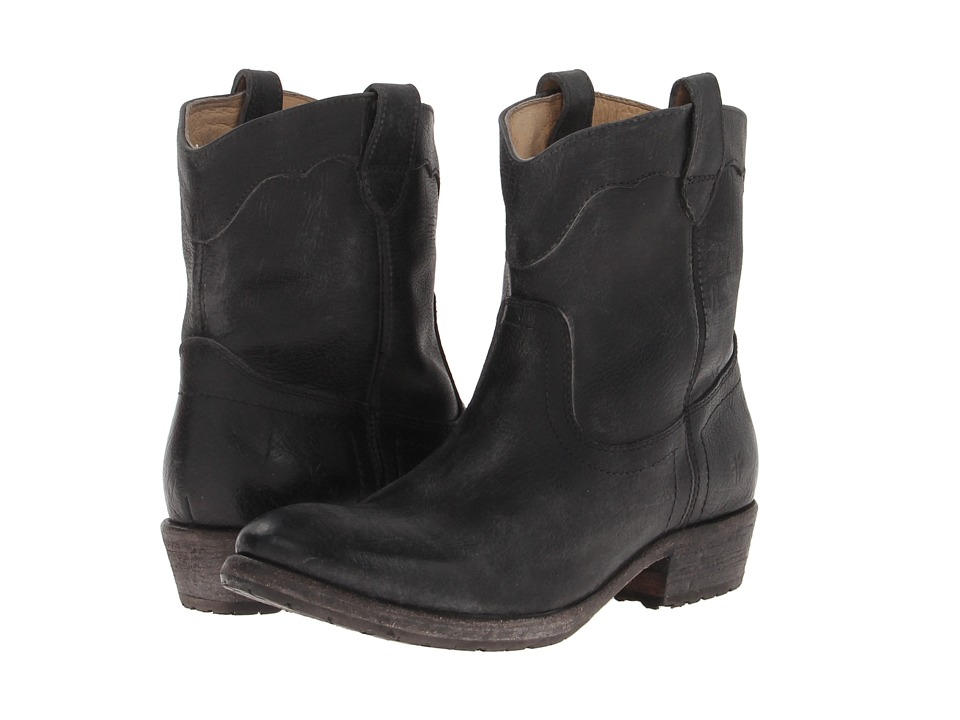 Frye - Carson Lug Short (Black Stone Antiqued) Cowboy Boots