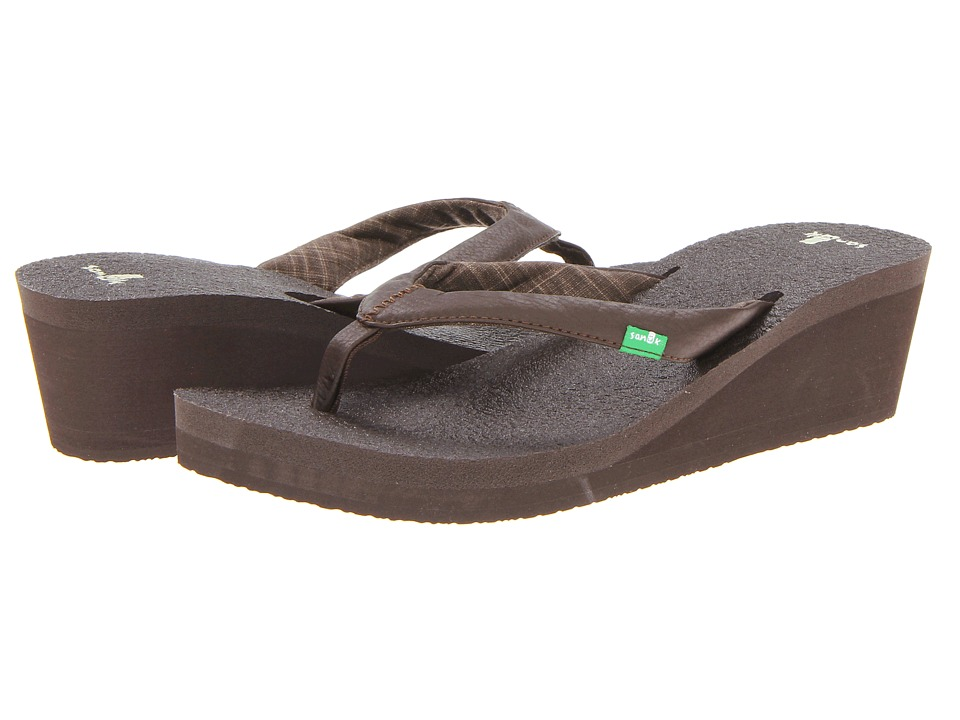Sanuk - Yoga Mat Wedge (Dark Brown) Women's Sandals