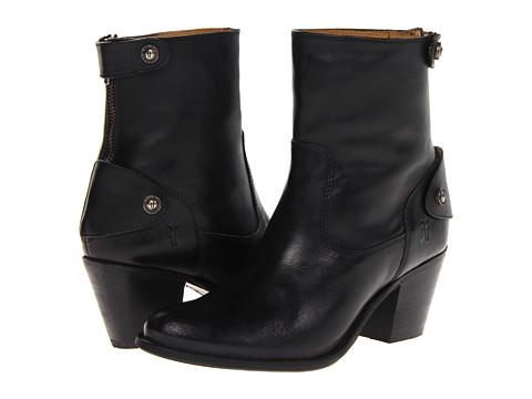 Frye - Jackie Zip Short (Black Soft Vintage Leather) Cowboy Boots