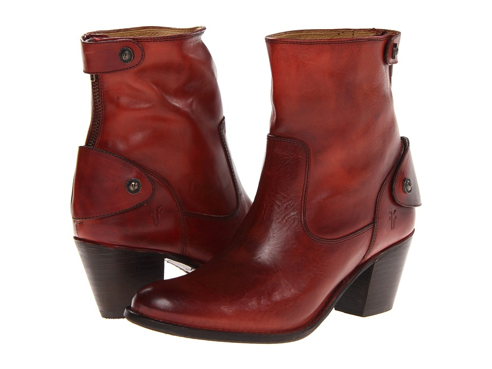 Frye - Jackie Zip Short (Burnt Red Soft Vintage Leather) Cowboy Boots