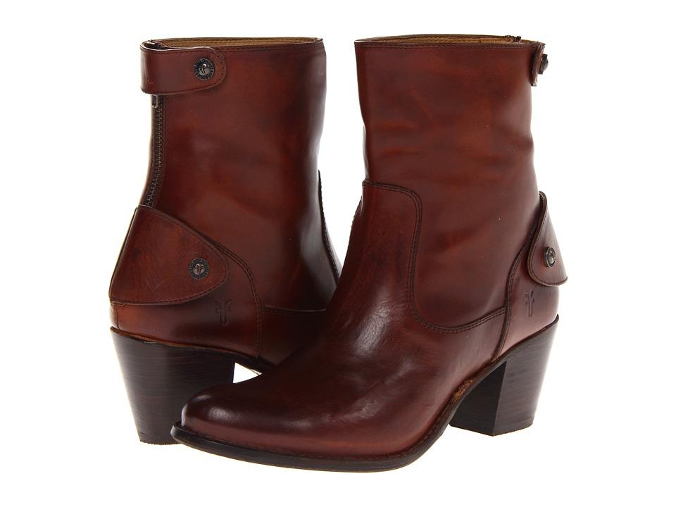 Frye Jackie Zip Short (Redwood Soft Vintage Leather) Cowboy Boots