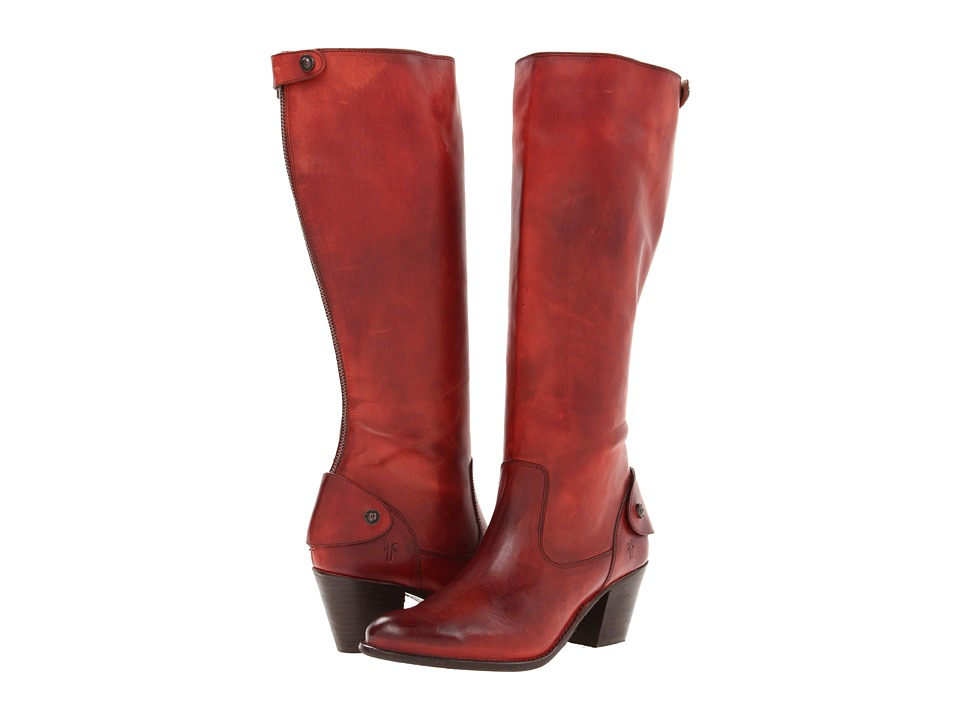 Frye - Jackie Zip Tall (Burnt Red Soft Vintage Leather) Cowboy Boots