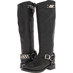 Frye Jenna Braid Stud Tall (Black Tumbled Full Grain) Footwear
