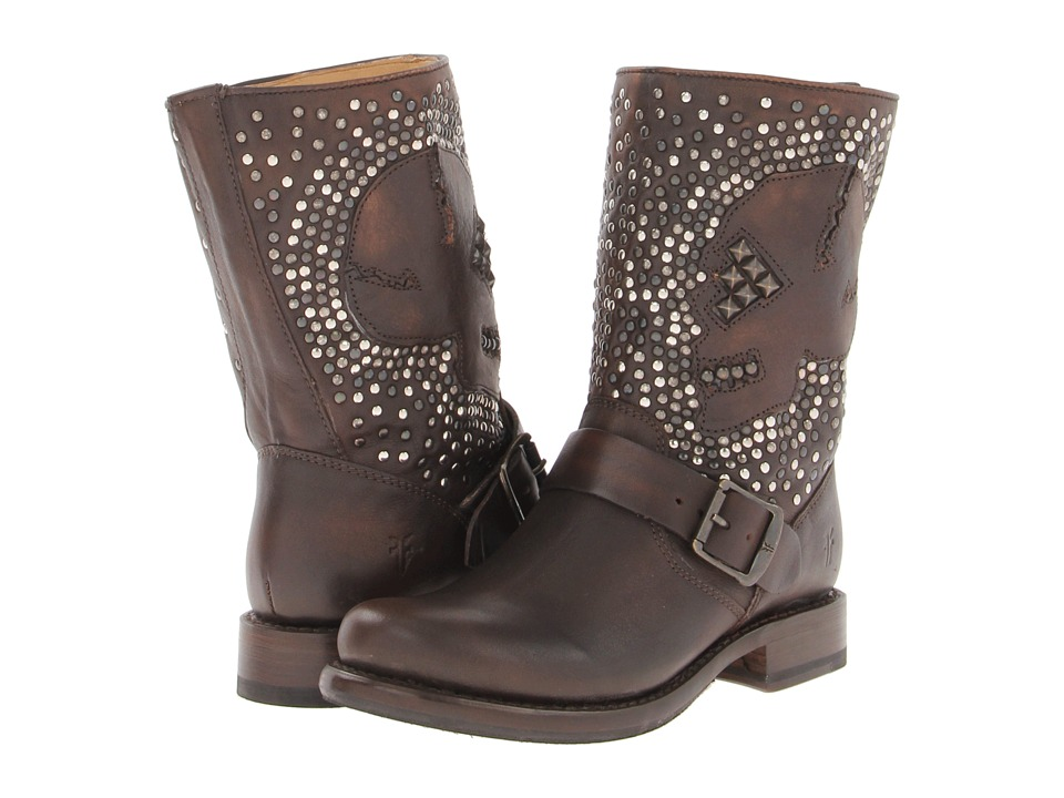 Frye - Jenna Skull Stud Short (Maple Calf Shine Vintage) Women's Pull-on Boots