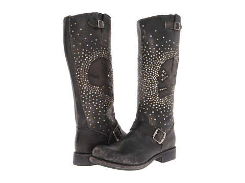 Frye - Jenna Skull Stud Tall (Black Stone Wash) Cowboy Boots