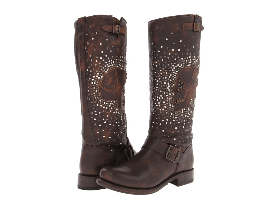 Frye - Jenna Skull Stud Tall (Maple Calf Shine Vintage) Cowboy Boots