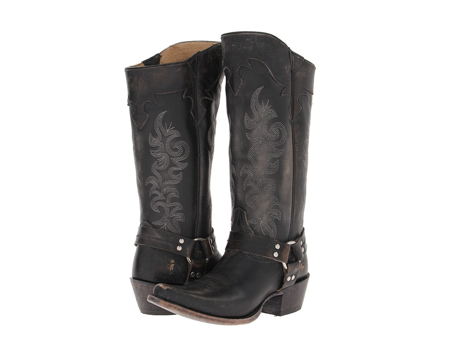 Frye - Lily Harness Tall (Black Stone Wash) Cowboy Boots
