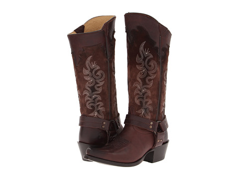 Frye - Lily Harness Tall (Cognac Soft Vintage Leather/Suede) Cowboy Boots