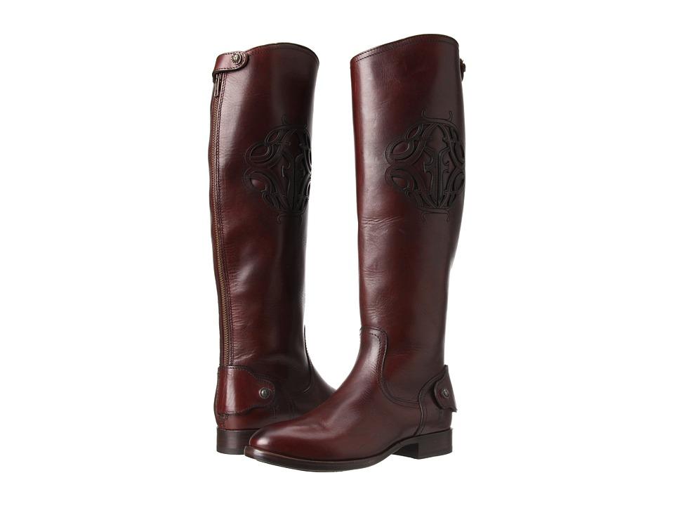 Frye Lindsay Logo Back Zip (Chocolate Smooth Full Grain) Cowboy Boots