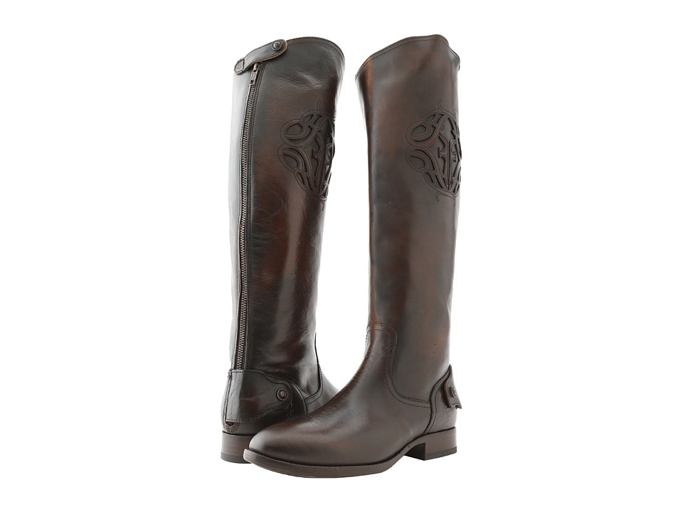 Frye - Lindsay Logo Back Zip (Dark Brown Vintage Brush Off) Cowboy Boots