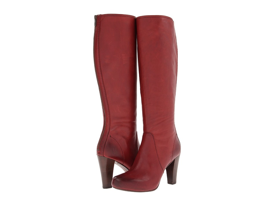 Frye - Marissa Back Zip Tall (Burnt Red Soft Vintage Leather) Cowboy Boots