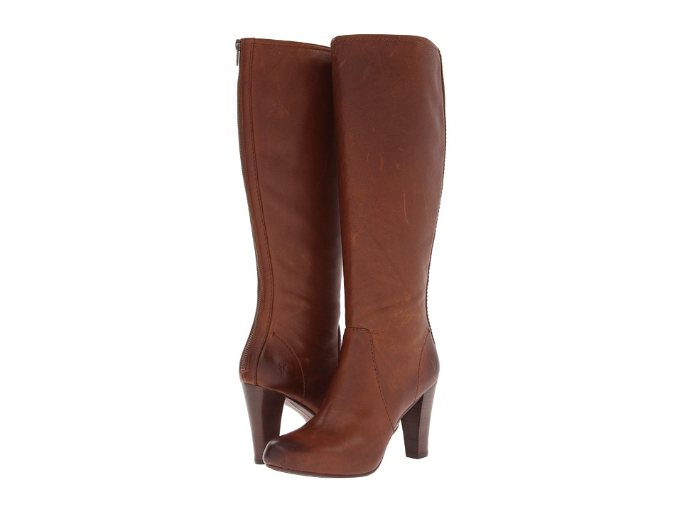 Frye Marissa Back Zip Tall (Cognac Soft Vintage Leather) Cowboy Boots