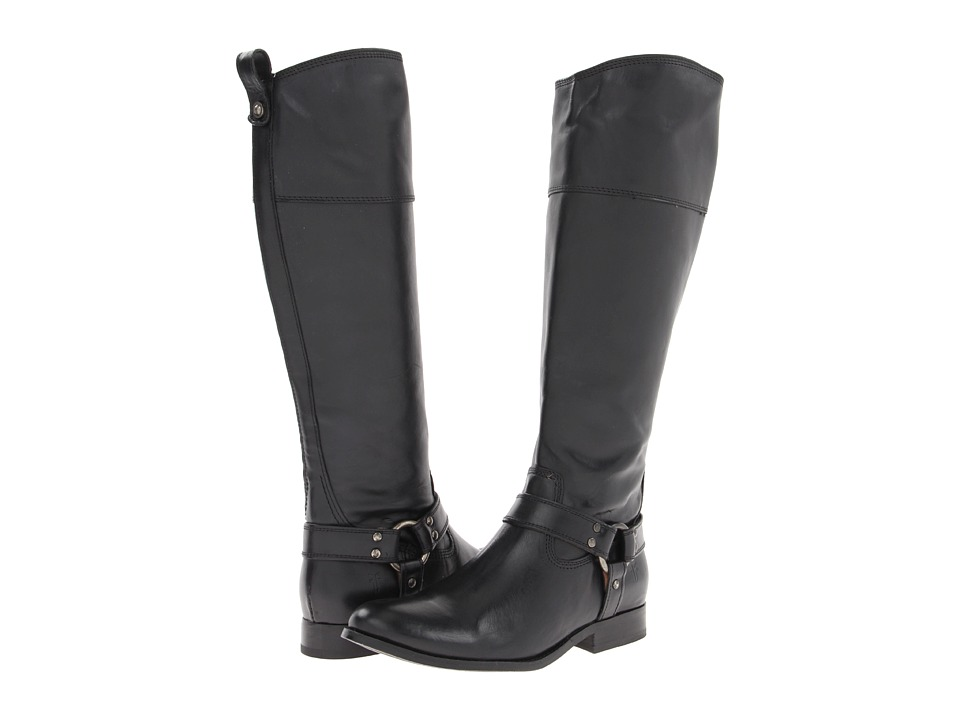 Frye - Melissa Harness Inside Zip (Black Soft Vintage Leather) Cowboy Boots