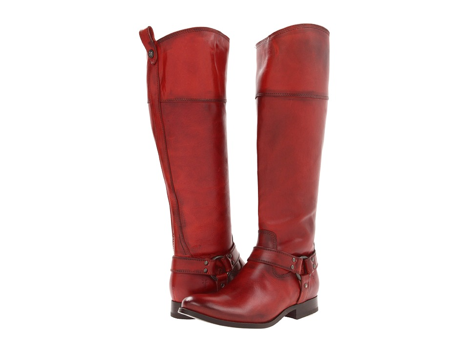 Frye - Melissa Harness Inside Zip (Burnt Red Soft Vintage Leather) Cowboy Boots