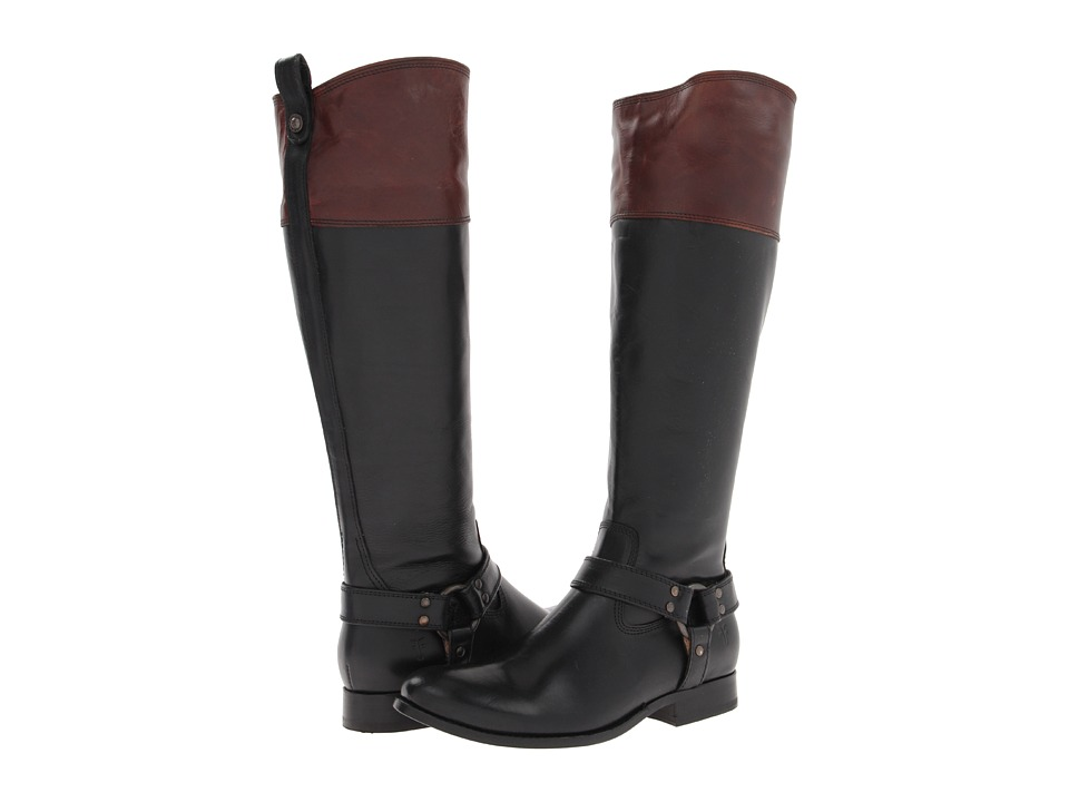 Frye Melissa Harness Inside Zip (Black Multi Smooth Full Grain) Cowboy Boots