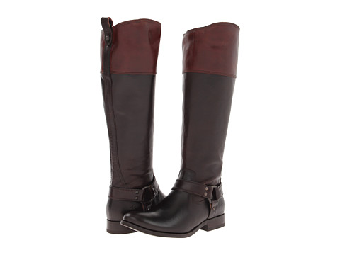 Frye - Melissa Harness Inside Zip (Dark Brown Multi Smooth Full Grain) Cowboy Boots