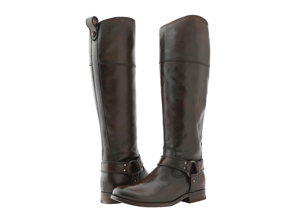 Frye Melissa Harness Inside Zip Dark Brown Vintage Brush Off Cowboy Boots