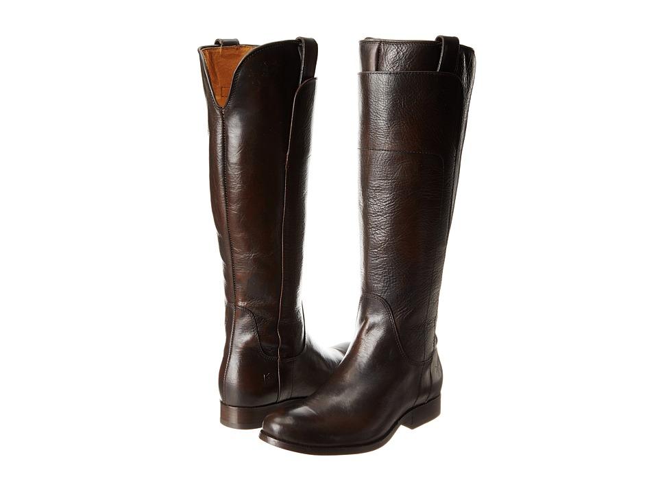 Frye Melissa Tall Riding Dark Brown Vintage Brush Off Cowboy Boots
