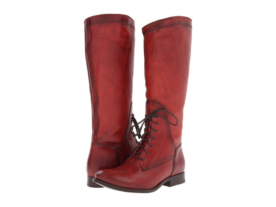 Frye - Melissa Riding Lace (Burnt Red Soft Vintage Leather) Cowboy Boots