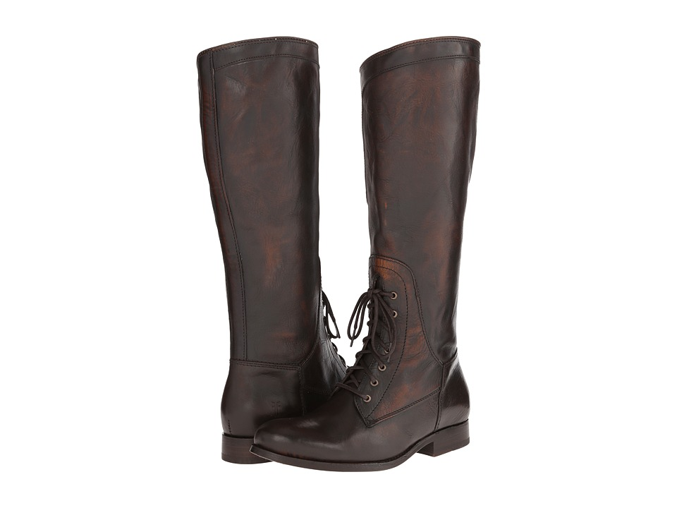 Frye Melissa Riding Lace (Dark Brown Vintage Brush Off) Cowboy Boots