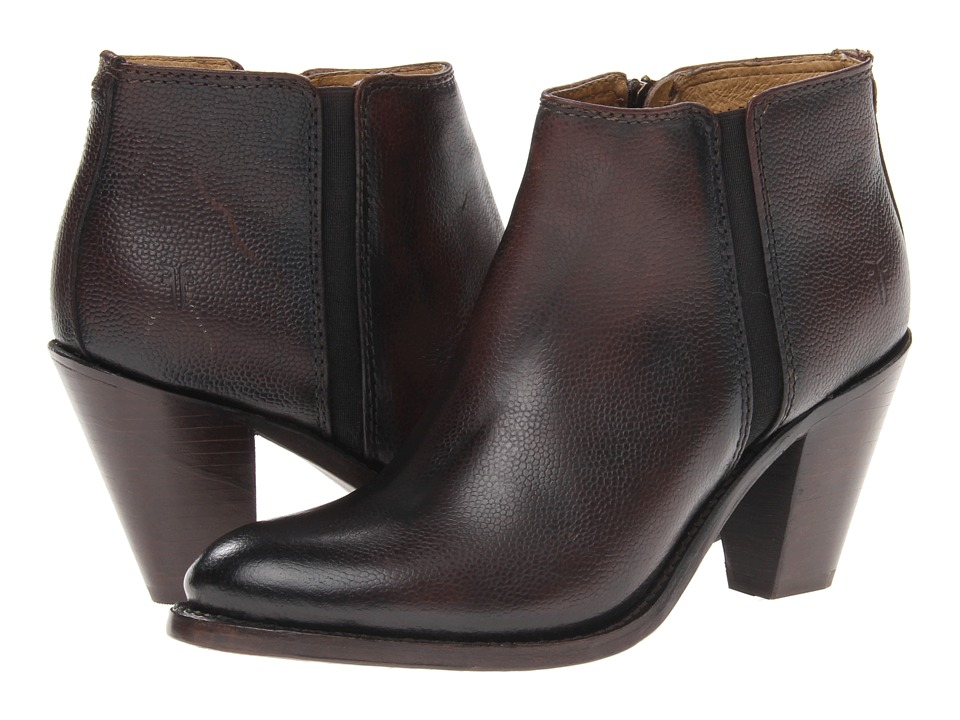 Frye - Mustang Gore Shootie (Dark Brown Scotch Grain) Cowboy Boots