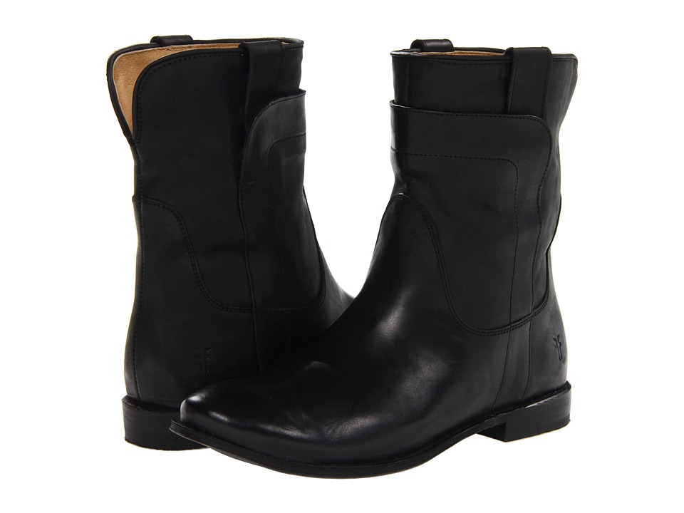 Frye - Paige Short Riding (Black Smooth Vintage Leather) Women's Pull-on Boots