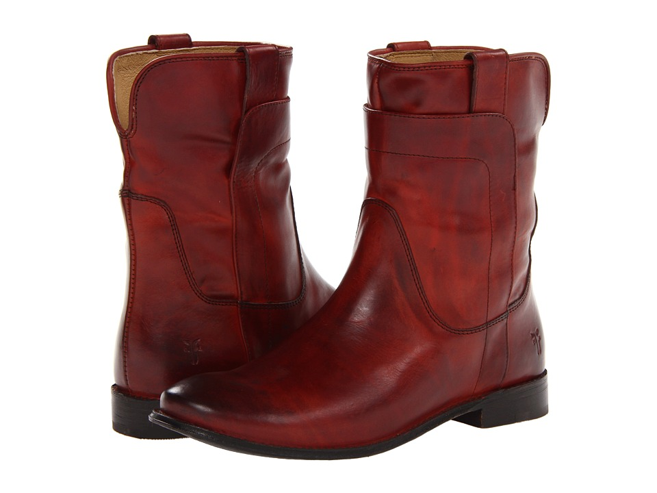 Frye - Paige Short Riding (Burnt Red Smooth Vintage Leather) Women's Pull-on Boots