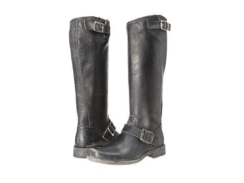 Frye - Smith Engineer Tall (Black Stone Wash) Women