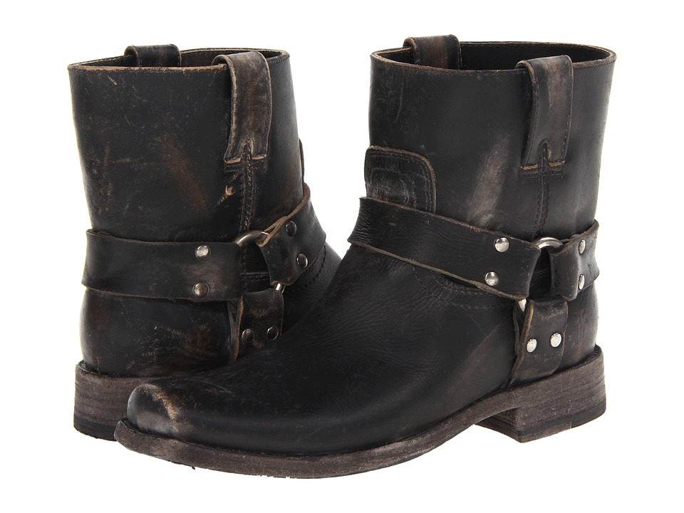 Frye - Smith Harness Short (Black Stone Wash) Women's Pull-on Boots