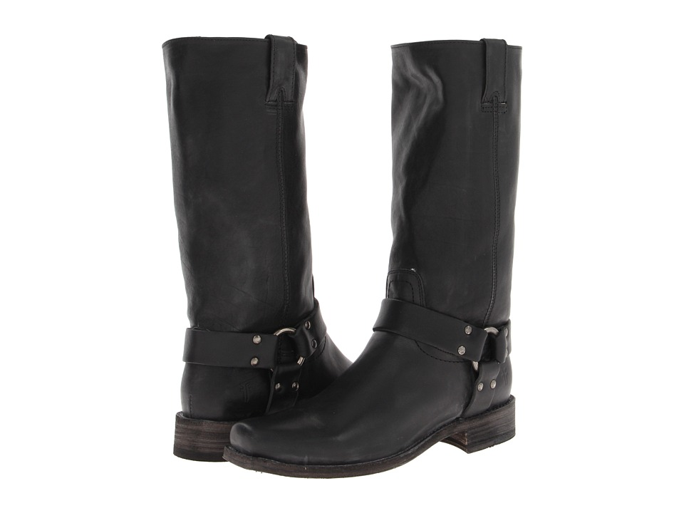 Frye - Smith Harness Tall (Black Tumbled Full Grain) Women's Pull-on Boots