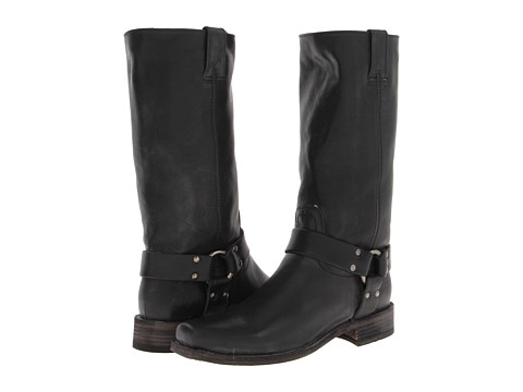 Frye - Smith Harness Tall (Black Tumbled Full Grain) Women