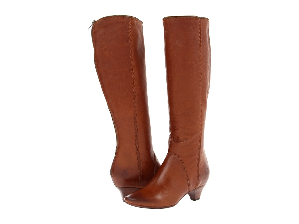 Frye Steffi Zip Tall (Cognac Soft Vintage Leather) Cowboy Boots