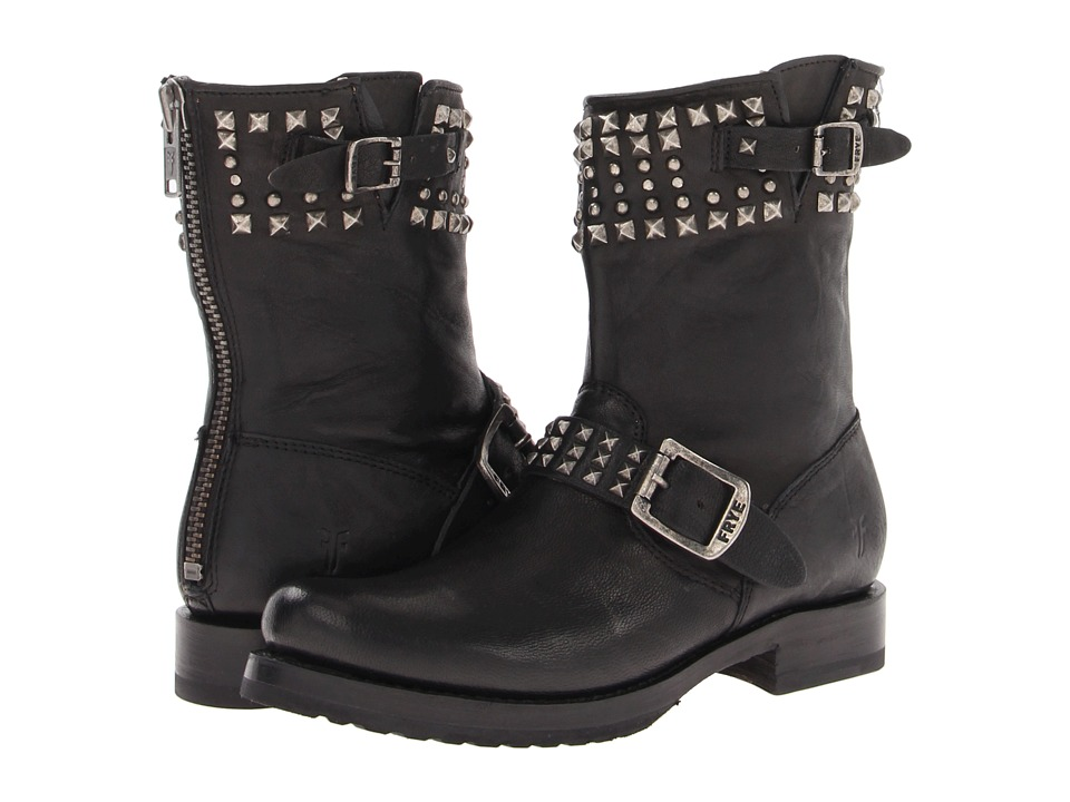 Frye - Veronica Biker Zip (Black Antique Soft Vintage) Women's Dress Lace-up Boots