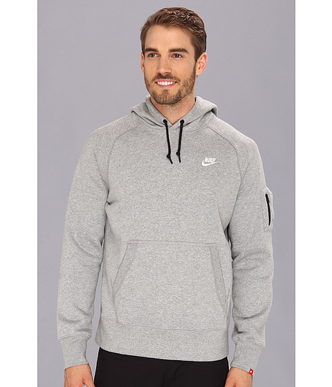 Nike - AW77 Fleece Pullover Hoodie (Dark Grey Heather/White) Men