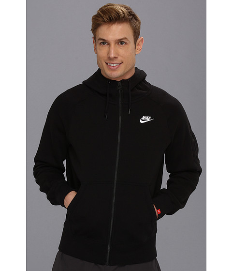Nike - AW77 Fleece FZ Hoodie (Black/White) Men's Sweatshirt