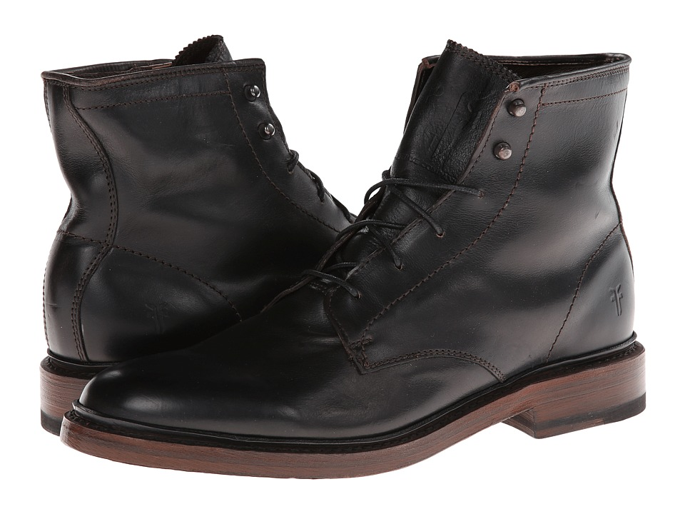 Frye - James Lace Up (Black Smooth Full Grain) Men