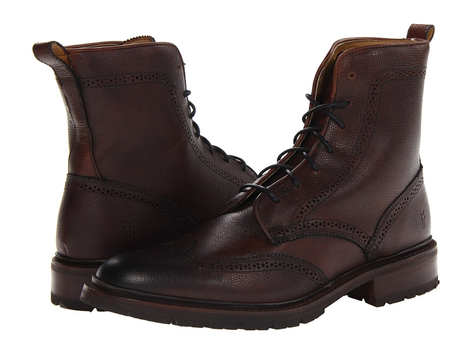 Frye - James Lug Wingtip Boot (Dark Brown Scotch Grain 2) Men