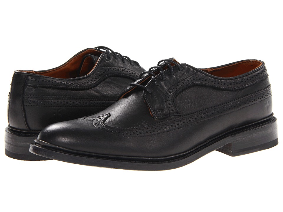 Frye - James Wingtip (Black Soft Vintage Leather) Men's Lace Up Wing Tip Shoes
