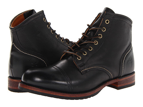 Frye - Logan Cap Toe (Black Soft Vintage Leather) Cowboy Boots
