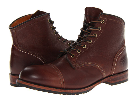 Frye - Logan Cap Toe (Dark Brown Soft Vintage Leather) Cowboy Boots