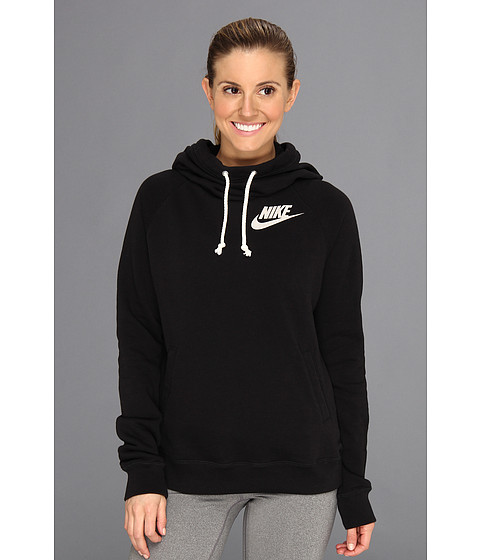 Nike - Rally Funnel Neck Hoodie (Black/Heather/Sail) Women