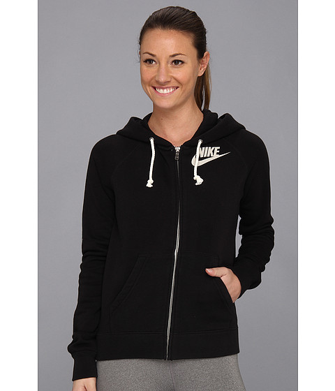 Nike - Rally Full-Zip Hoodie (Black/Heather/Sail) Women
