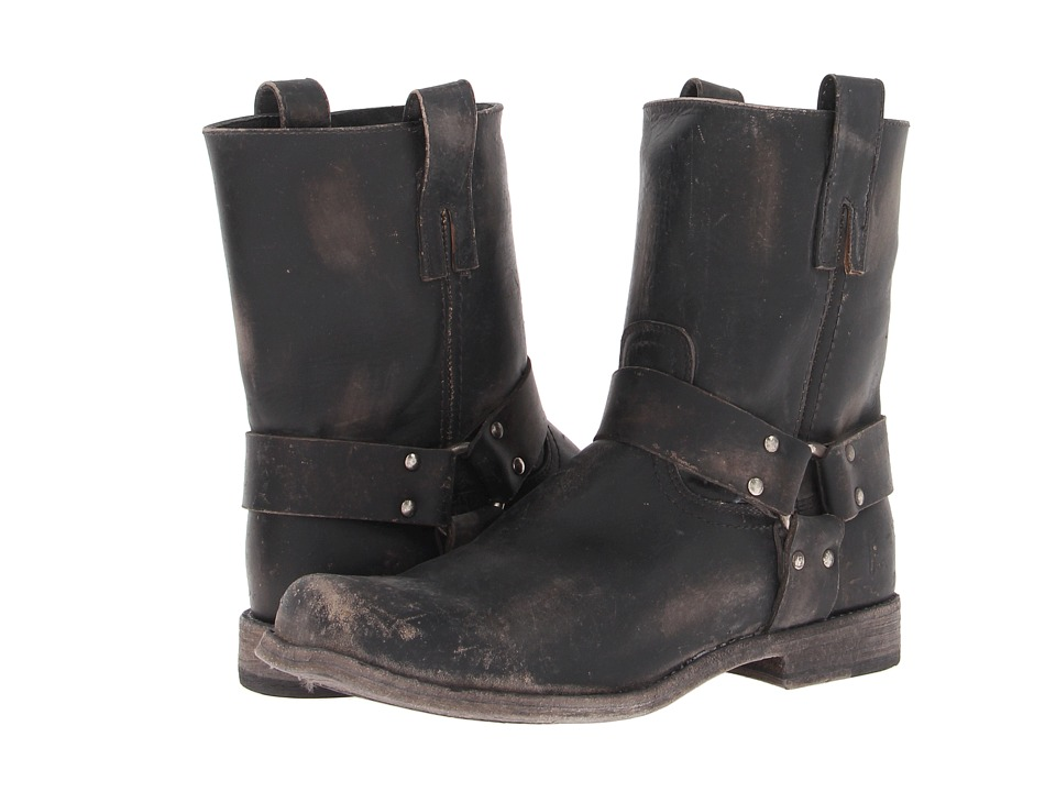 Frye - Smith Harness (Black Stone Wash) Men's Pull-on Boots