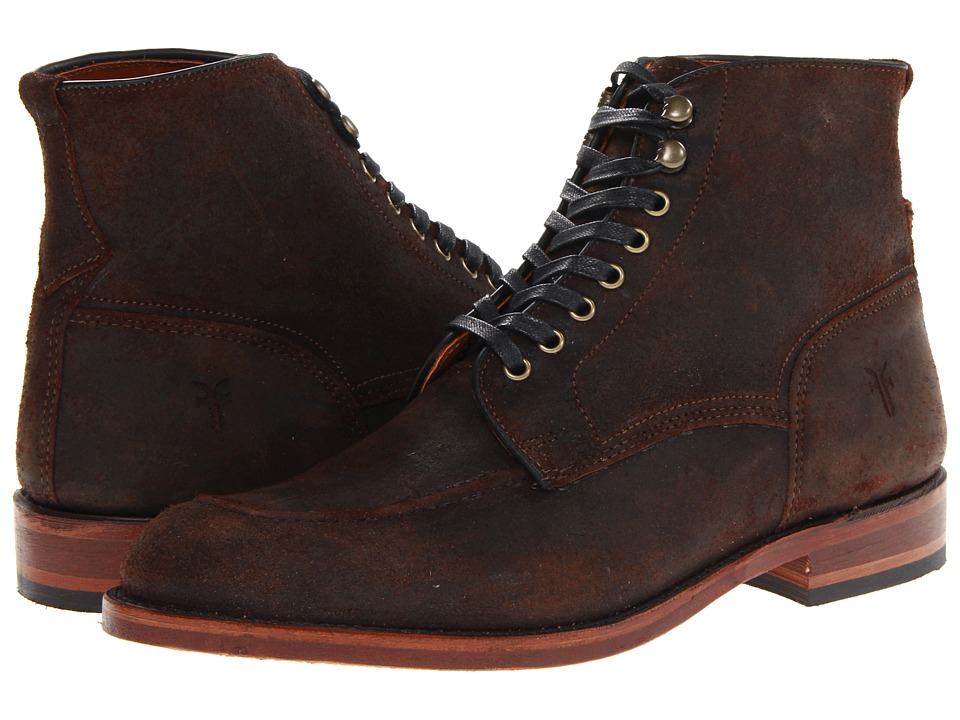 Frye - Walter Lace Up (Dark Brown Waxed Suede) Men's Boots