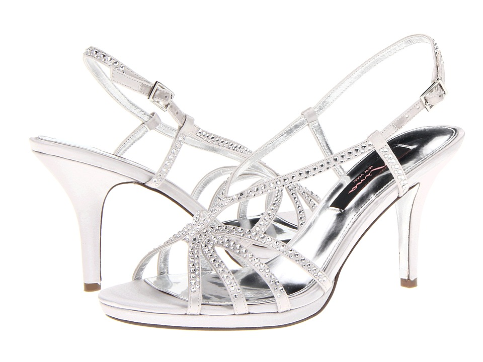 69b88a81541b ... UPC 716142351428 product image for Nina Bobbie (Silver Satin) Women s Dress  Sandals